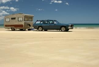 Wagon with trailer on beach