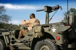 Soldier in jeep