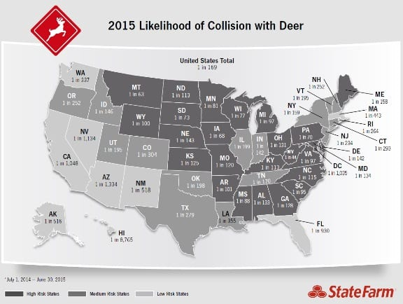 Map of deer collision odds by state