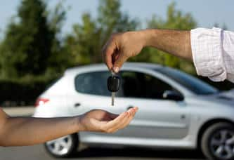 Handing over car keys for borrowed vehicle