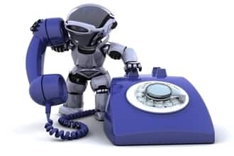 Robot on phone