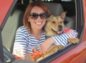 Belinda and Bodie the dog in car