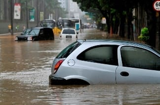 Cars in flood waters