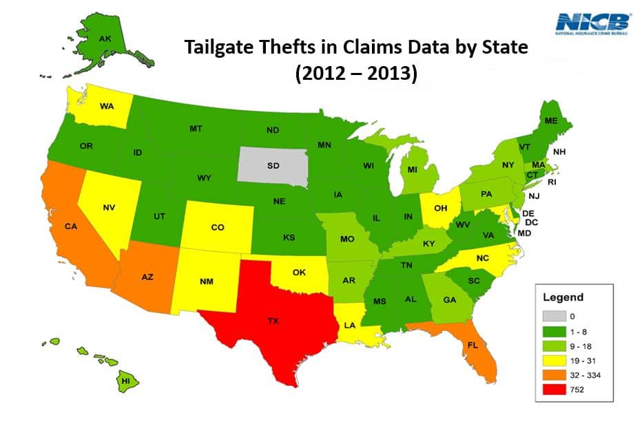 NICB map of tailgate thefts by state