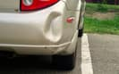 Dented car bumper