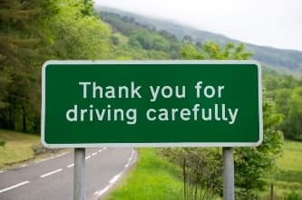 Thank you for driving carefully sign