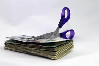 Scissors with money